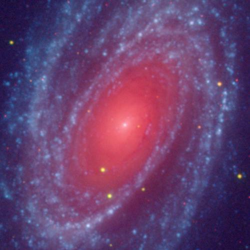 M81 3 Color image: Red: DSS2R, Green: GALEXNear, Blue: GALEXFar